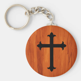 Black Christian Holy Cross in Wooden Keychain