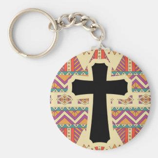 Black Christian Holy Cross Pattern Keychain