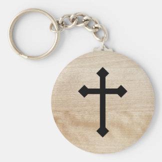 Black Christian Holy Cross Wooden Texture Keychain