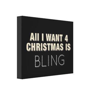 Black Christmas Bling Canvas Print
