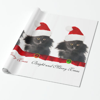 BLACK CHRISTMAS CAT,SANTA CLAUS HAT AND RED RIBBON WRAPPING PAPER