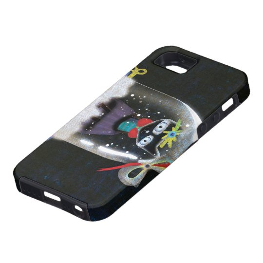 Black Christmas Cat Whimsical snow Dome iPhone SE/5/5s Case