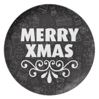 Black christmas home deco diner plate
