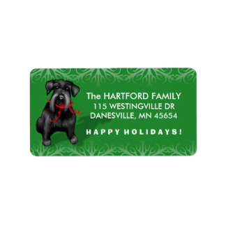 Black Christmas Schnauzer Dog Address Labels