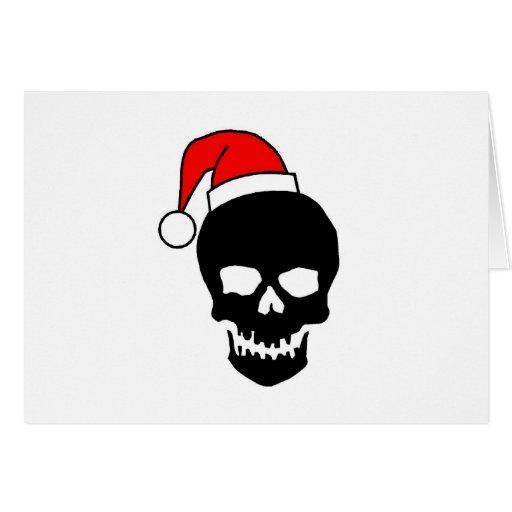 Black Christmas Skull Card