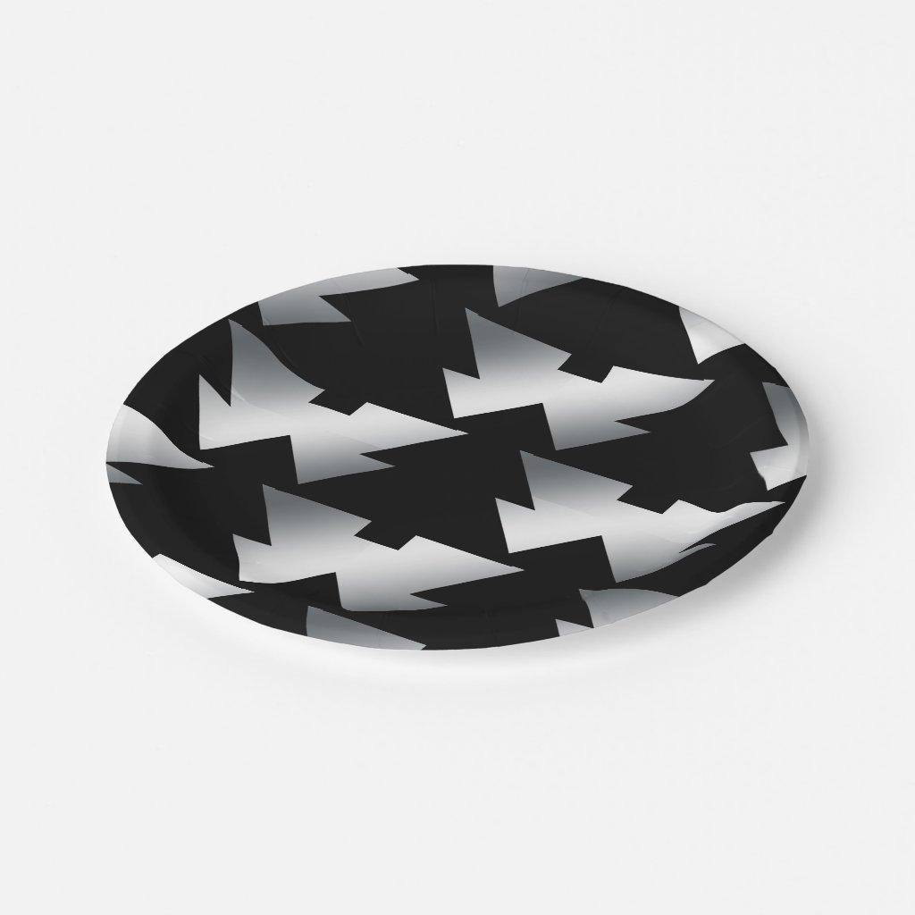 Black Christmas Trees Modern Christmas Paper Plate