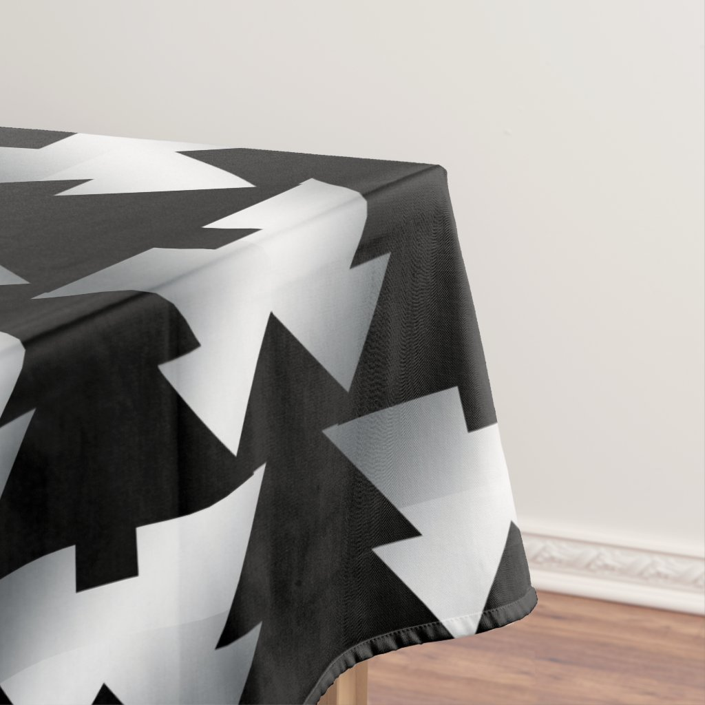 Black Christmas Trees Modern Tablecloth