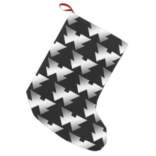 black christmas trees on silver small christmas stocking - Black Christmas Stocking