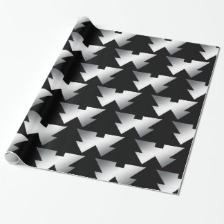 Black Christmas Trees on Silver Wrapping Paper