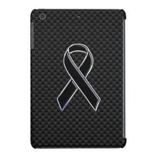 Black Chrome Style Ribbon Awareness Carbon Fiber iPad Mini Case