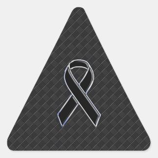 Black Chrome Style Ribbon Awareness Triangle Sticker