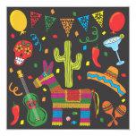 """Black Cinco De Mayo Fiesta Party Invitation 5.25"""" Square Invitation Card"""