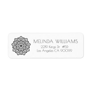 Black Circle Geometric Mandala Label