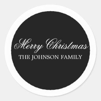 Black Circle Merry Christmas Stickers