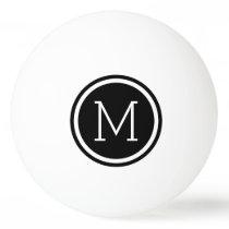 Black Circle Monogram Personalized Ping Pong Ball