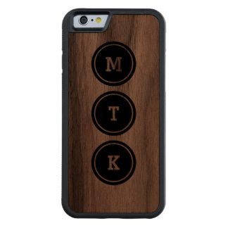 Black Circle Monogram Carved® Walnut iPhone 6 Bumper