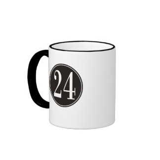 Black Circle - Number 24 (front) Ringer Coffee Mug