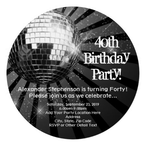 Black Circle Round Disco Ball 40th Birthday Party Personalized Invite