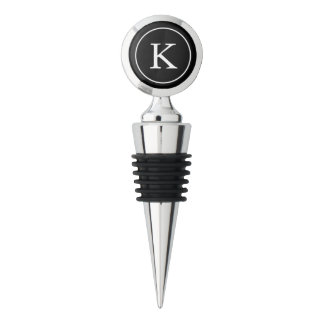 Black Circle with White Monogram Initial Wine Stopper