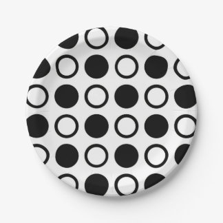Black Circles and Polka Dots Paper Plate