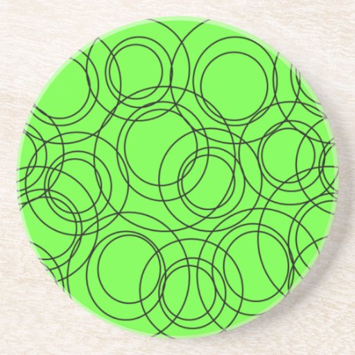 Black Circles on Lime Beverage Coaster