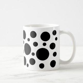 Black circles on white coffee mug. coffee mug