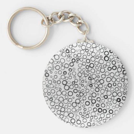 Black Circles Tiny Bubbles Keychain