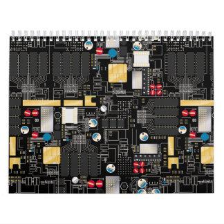 Black circuit board calendar