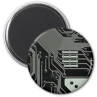 Black Circuit Board - Electronic Print 2 Inch Round Magnet