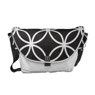 Black  Circular Pattern Courier Bag
