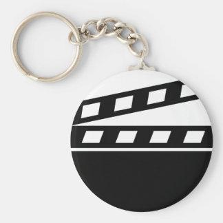 Black Clapperboard Basic Round Button Keychain
