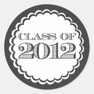 Black Class of 2012 Swirl Graduation Sticker