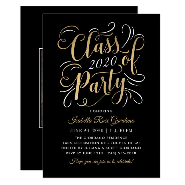 Black Class of 2020 | Gold Script Graduation Party Invitation