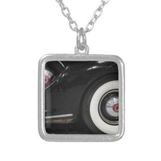 Black Classic card Square Pendant Necklace