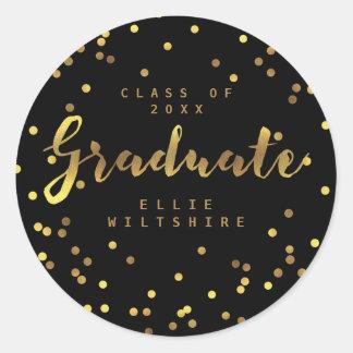 Black Classy Graduate Faux Gold Foil Confetti Classic Round Sticker