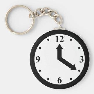 Black Clock Basic Round Button Keychain