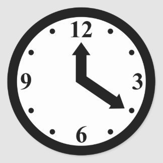 Black Clock Classic Round Sticker