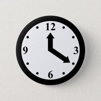 Black Clock Pinback Button