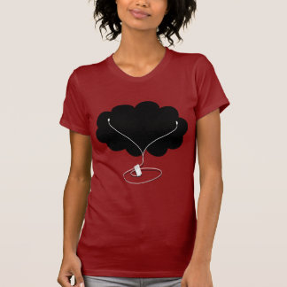 Black Cloud with Ear Buds T-Shirt