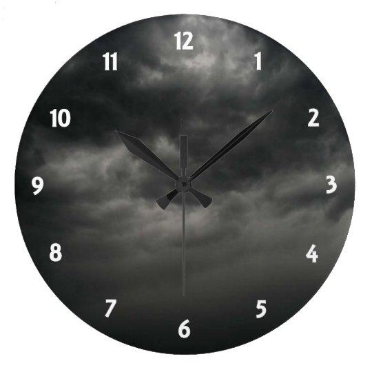 Black Cloudy Sky Clock