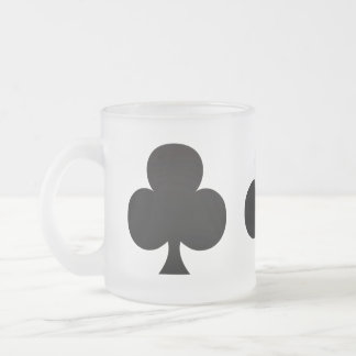 Black Club - Suit of Gambling Cards Frosted Glass Coffee Mug