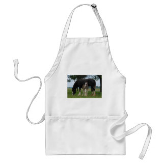 Black Clydesdale and Filly Adult Apron