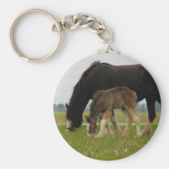 Black Clydesdale and Filly Keychain