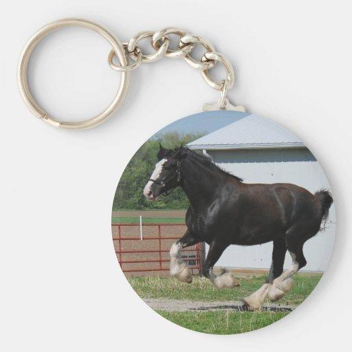 Black Clydesdale Basic Round Button Keychain