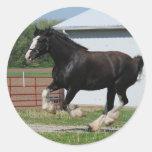 Black Clydesdale Classic Round Sticker