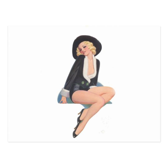 Black Coat Vintage Pinup Pose Postcard