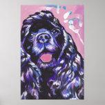 Black Cocker Spaniel Bright Pop Art Print Poster