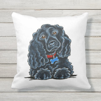 Black Cocker Spaniel Fitz Throw Pillow