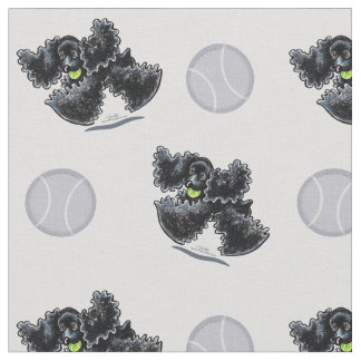 Black Cocker Spaniel Playtime Silver Fabric