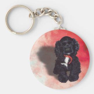 Black Cocker Spaniel Puppy - Abby Basic Round Button Keychain